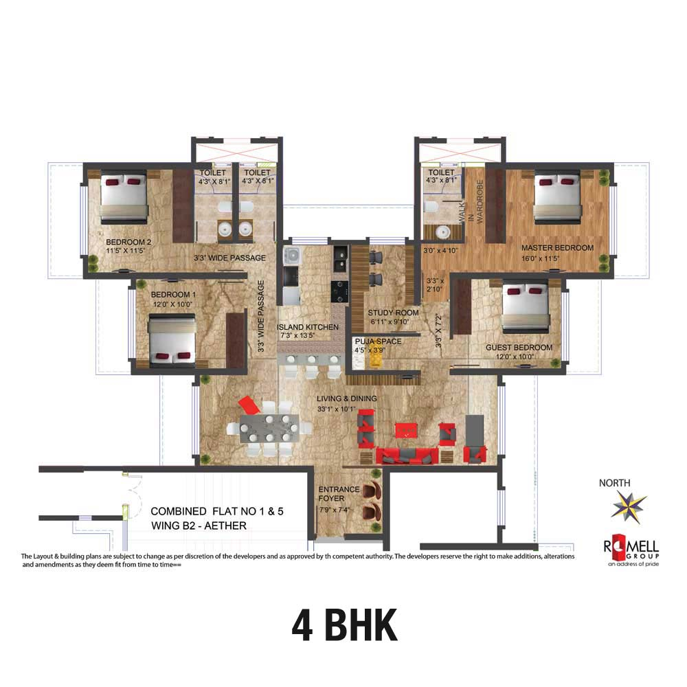 Romell Aether FloorPlan 4BHK